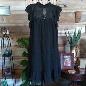 Who What Wear Black Boho Babydoll Dress